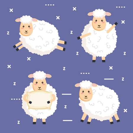 good night sleep cartoon sheep animals vector illustration