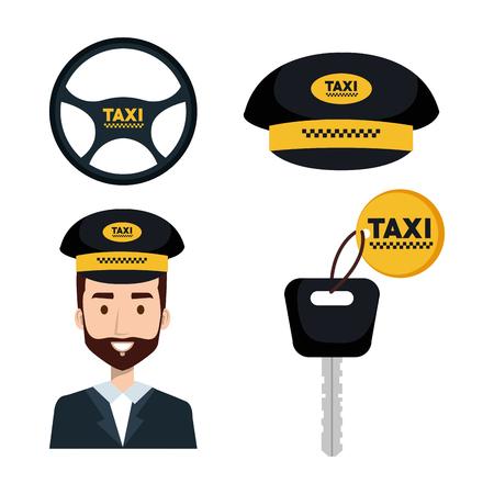 taxi service set transport order internet elements vector illustration