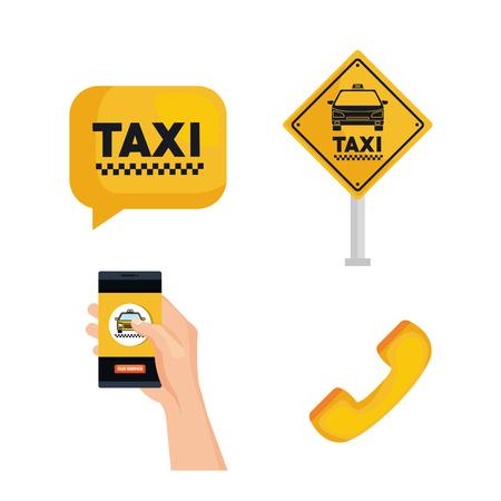 Taxi servicio conjunto transporte orden elementos internet ilustración vectorial Foto de archivo - 83893666