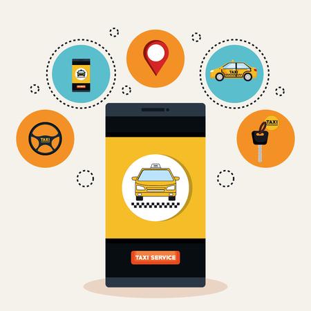 online taxi service smartphone application transport vector illustration