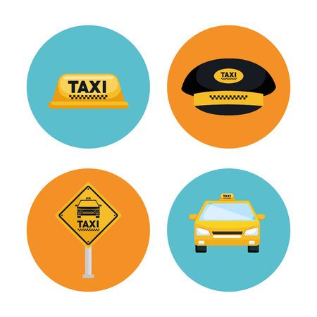 Taxi-Service Transport Transport Versand Internet Elemente Vektor-Illustration Standard-Bild - 83893674