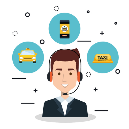 call center operator taxi service app cartoon vector illustration Ilustrace