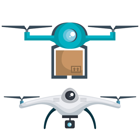 modern delivery of the package by flying drone vector illustration 版權商用圖片 - 83893991