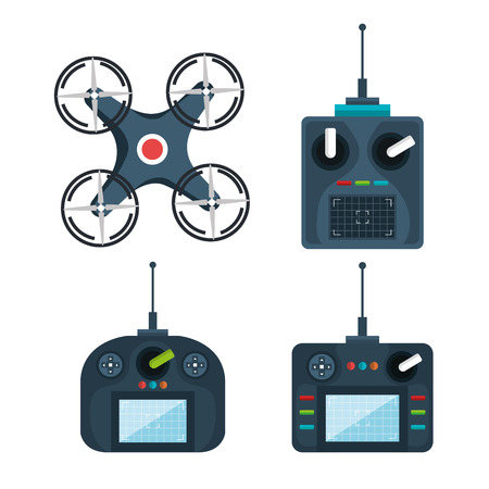 drone modern remote controls technology device vector illustration