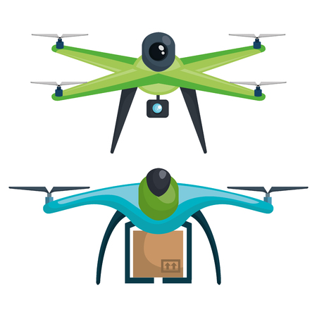 modern delivery of the package by flying drone vector illustration 版權商用圖片 - 83893947