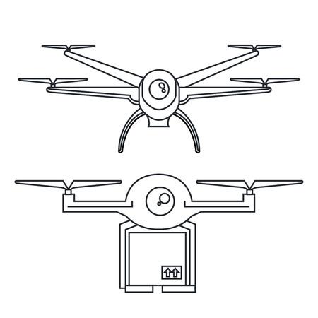 드론 벡터 일러스트 레이션을 비행하여 패키지의 현대 배달