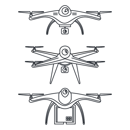 drone photography and video created with camera vector illustration Ilustração