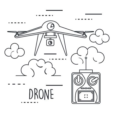 drone met afstandsbediening technologie pictogram vectorillustratie