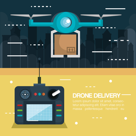 modern delivery of the package by flying drone with control vector illustration