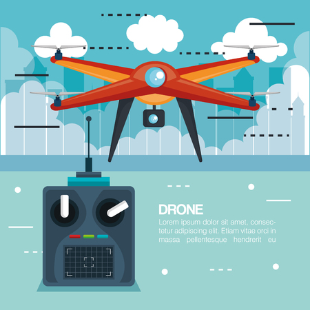 drone with remote control technology icon vector illustration