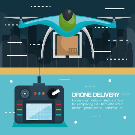 moderne levering van het pakket door drone met controle vectorillustratie te vliegen Stock Illustratie