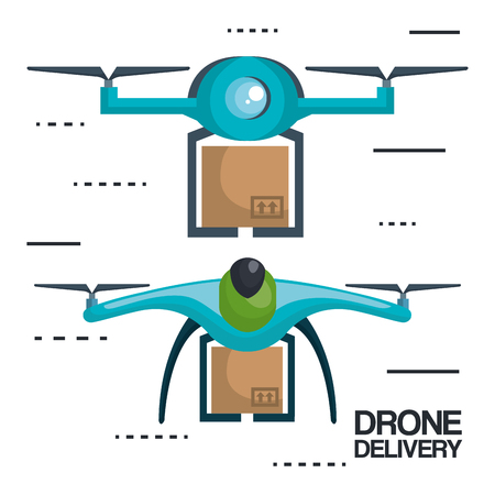 modern delivery of the package by flying drone vector illustration 版權商用圖片 - 83915756