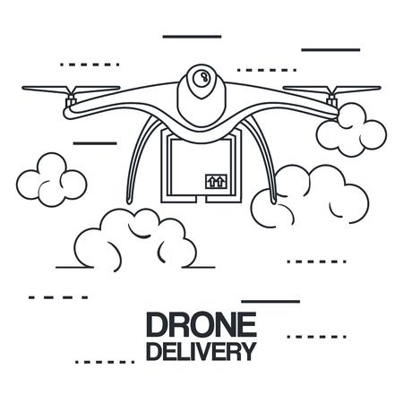 moderne levering van het pakket door drone vectorillustratie te vliegen