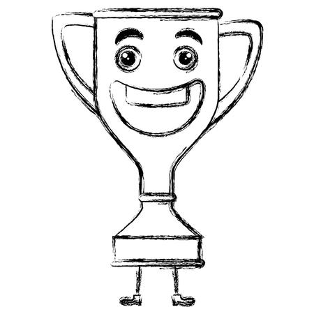 trophy cup character vector illustration design Ilustração