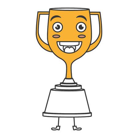 trophy cup character vector illustration design Illustration