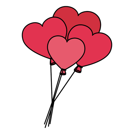 shaped: Heart shaped party balloons vector illustration design