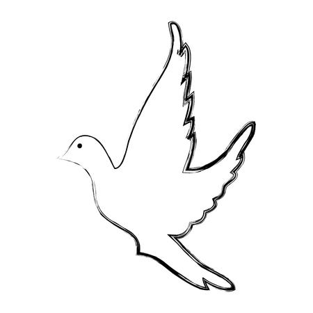 귀여운 비둘기 비행 아이콘 벡터 일러스트 레이 션 디자인