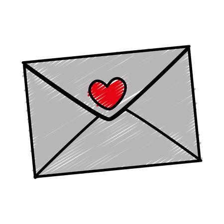 envelop met vector de illustratieontwerp van het hartpictogram