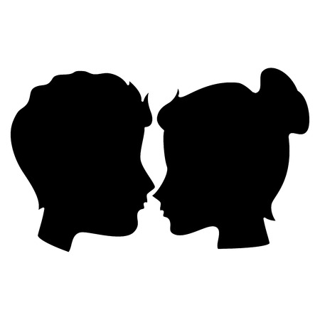 lovers couple profile kissing vector illustration design
