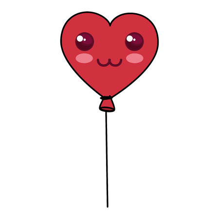 shaped: Heart shaped party balloons character vector illustration design