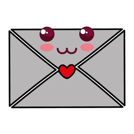 envelop met vector de illustratieontwerp van het hartkarakter