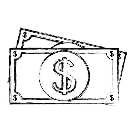 지폐 달러 격리 된 아이콘 벡터 일러스트 레이 션 디자인 일러스트