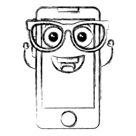 touch screen phone: smartphone device with glasses  character vector illustration design