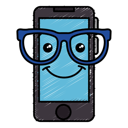 smartphone device with glasses  character vector illustration design