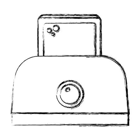 broodrooster brood elektrisch pictogram vector illustratie ontwerp Stock Illustratie