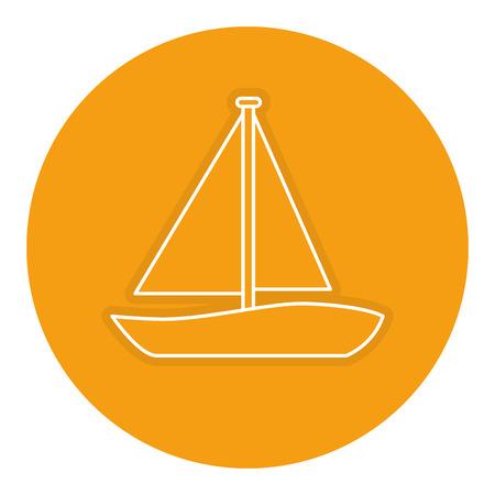 Zeilboot reizen geïsoleerd pictogram vector illustratie ontwerp Stockfoto - 83921541
