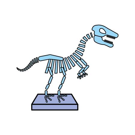박물관 공룡 해골 아이콘 벡터 일러스트 디자인