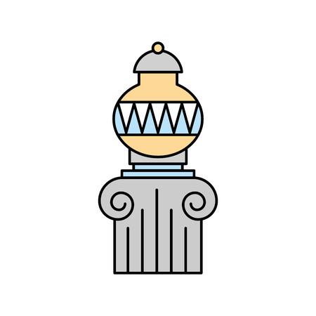 Vieux vase de musée sur la conception d'illustration vectorielle de colonne Banque d'images - 83947379