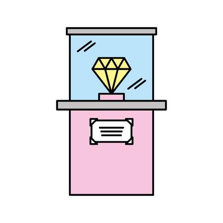 Diamond in museum icon vector illustration design