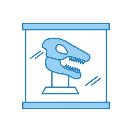 항아리 유리 벡터 일러스트 디자인에서 박물관 공룡 골격