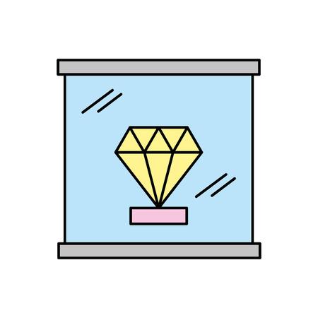 박물관 아이콘 벡터 일러스트 레이 션 디자인에 다이아몬드 일러스트