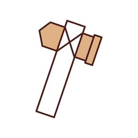 旧石器時代の斧のアイコン ベクトル イラスト デザインを分離しました。