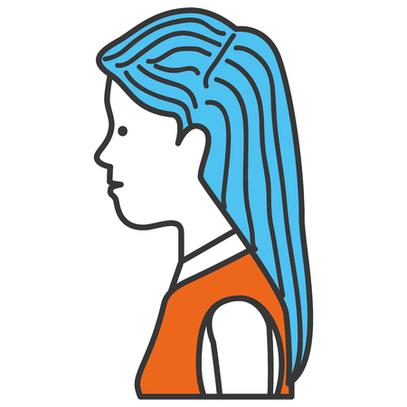hair style: beautiful woman profile avatar character vector illustration design