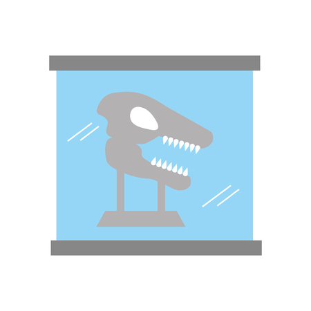 Museum dinosaur skeleton in urn glass vector illustration design Çizim