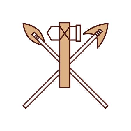 골동품 화살표와 도끼 격리 된 아이콘 벡터 일러스트 레이 션 디자인 일러스트