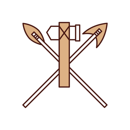 antique arrows and ax isolated icon vector illustration design