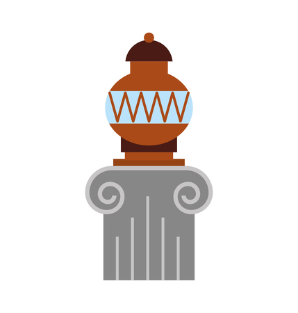 Old museum vase on column vector illustration design