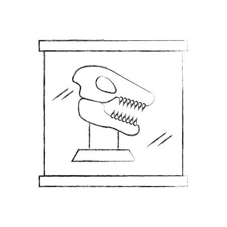 Museum dinosaur skeleton in urn glass vector illustration design Illustration