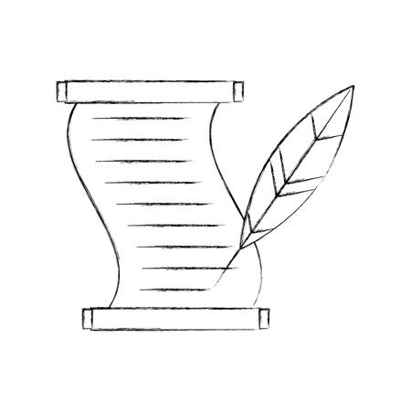 Museumpapyrus met ontwerp van de veer het vectorillustratie Stock Illustratie