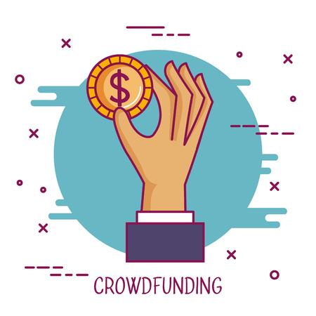 crowdfunding hand met dollar munt samenwerking vectorillustratie