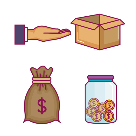 crowdfunding icons set with idea donations vector illustration