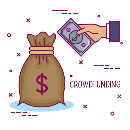 クラウドファンディング ビジネス協力バッグお金共有ベクトル図  イラスト・ベクター素材