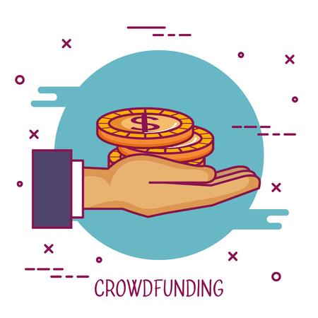 crowdfunding hand met geld munt donatie vectorillustratie