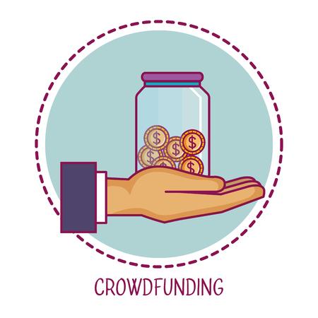 クラウドファンディング手コンテナーお金協力ベクトル図