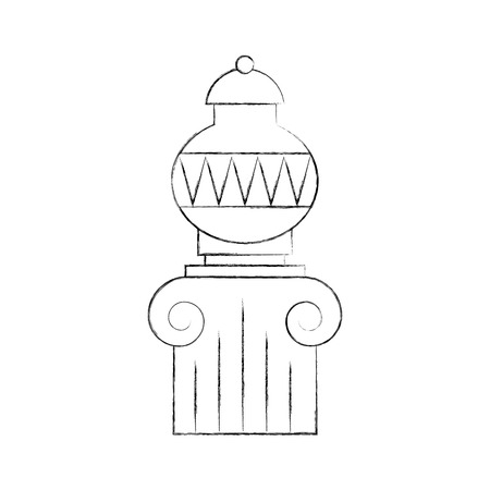 Old  vase on column vector illustration design