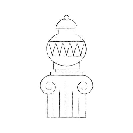 Vase ancienne sur la conception d'illustration vectorielle de colonne Banque d'images - 83947427